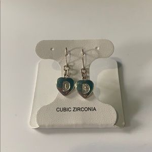 Heart shaped earrings with 'D' initial
